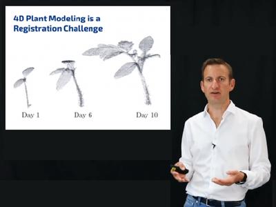 zeigt, wie Pflanzen beobachtet und analysiert werden (© Foto: ICRA'20 Keynote Talk by Cyrill Stachniss: Robots in the Field - Towards Sustainable Crop Production)